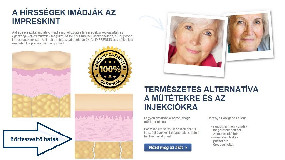 Ráncok ellen Impreskin impreskin bőrfiatalítás A ráncok csökkentése, bőrfeszesítő hatás