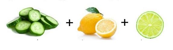 Uborka + lime + citrom