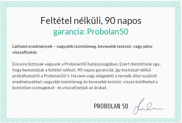 Probolan50 90 napos pénzvisszafizetési garancia