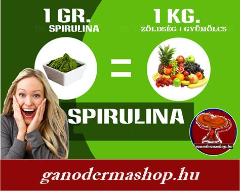 1 gr Spirulina 1 kg zöldség és gyümölcs vitaminjait és ásványi anagát tartalmazza